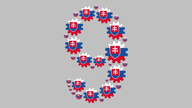 slovakian number nine - numero 9 video stock e b–roll