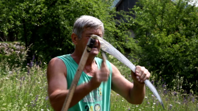 slovenia, bohinj, farmer sharpening the scythe - 小背心 個影片檔及 b 捲影像