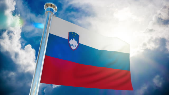 4k slovenia flag - loopable stock video - country geographic area stock videos & royalty-free footage