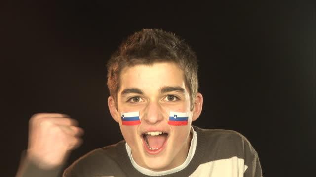 slovenia football / sports fan - hd & pal - fan enthusiast stock videos and b-roll footage