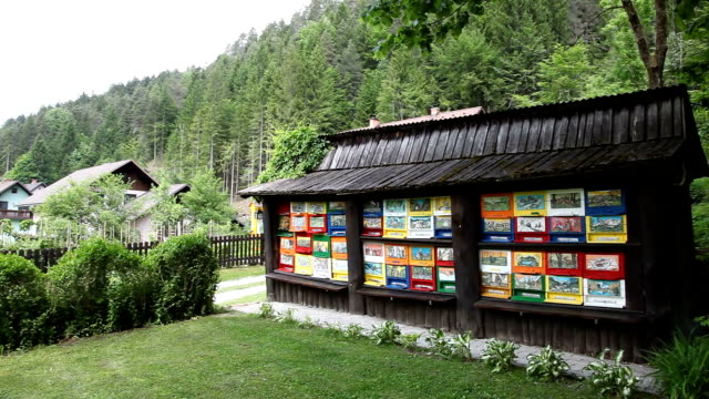 Slovenia, Kranjska Gora, Ratece, a beehive painted according to the Slovenian tradition