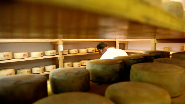 slovenia, upper carniola, bovec, the cheese forms are turned into the drying cell - the ageing process stock videos & royalty-free footage