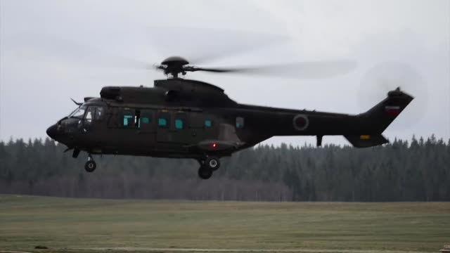 a slovenian cougar and us army chinook depart rena leir airfield norway during exercise trident juncture november 4 2018 - military helicopter stock videos & royalty-free footage