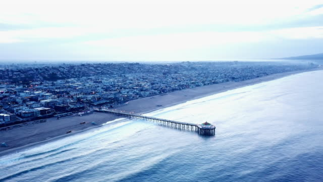 Slow Aerial of the Famous Manhattan Beach Area