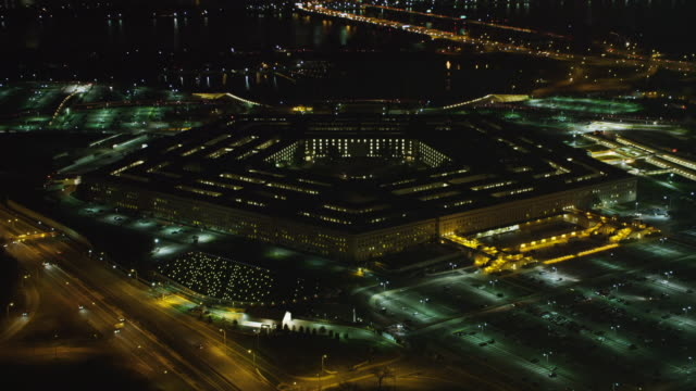 slow approach to the pentagon at night. shot in 2011. - the pentagon stock videos & royalty-free footage