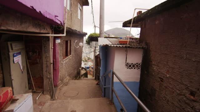 RIO DE JANEIRO, BRAZIL - JUNE 23: Slow dolly shot inside favela on June 23, 2013 in Rio, Brazil