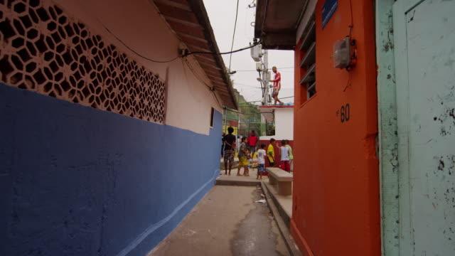 RIO DE JANEIRO, BRAZIL - JUNE 23: Slow dolly shot of favela on June 23, 2013 in Rio, Brazil