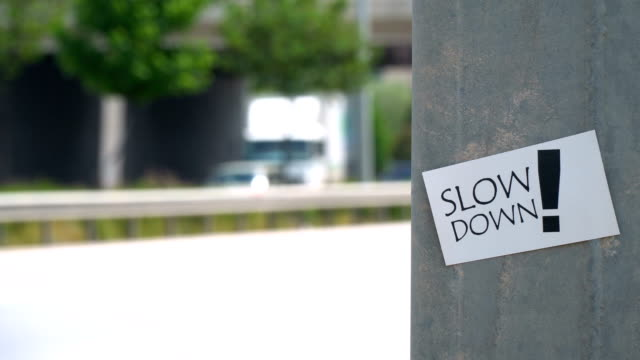 slow down! sign - punctuation mark stock videos & royalty-free footage