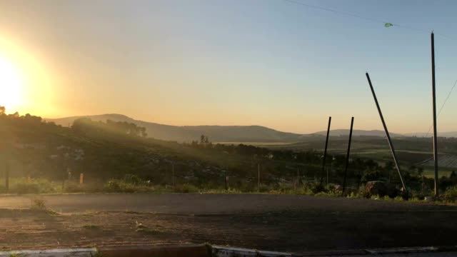 slow drive at sunset overlooking the lower galille region - 見渡す点の映像素材/bロール