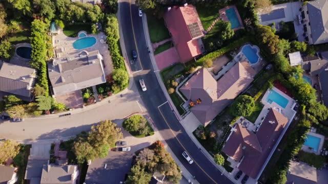 Slow Flight Down Residential Street in Beverly Hills