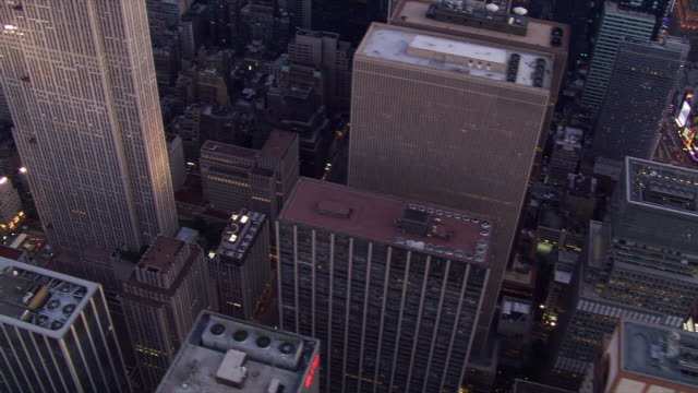 slow flight over manhattan at night. shot in 2006. - st. patrick's cathedral manhattan stock videos and b-roll footage