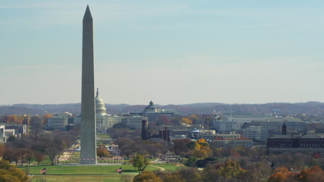 slow flight right to left past the national mall, washington monument passing in front of capitol building. shot in 2011. - 2011 stock videos & royalty-free footage