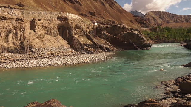 slow flowing water from gangotri glacier,  india - eroded stock videos & royalty-free footage