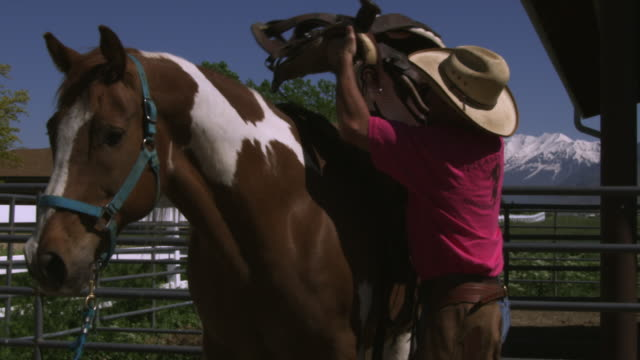 slow handheld shot of a cowboy saddling a horse - 馬勒点の映像素材/bロール