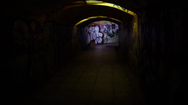slow mo: spooky underpass - dark stock videos & royalty-free footage