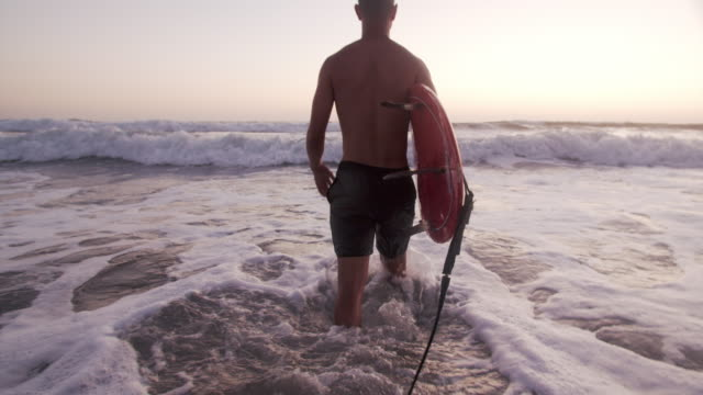 slow mo young man going surfing at sunset - young men stock videos & royalty-free footage