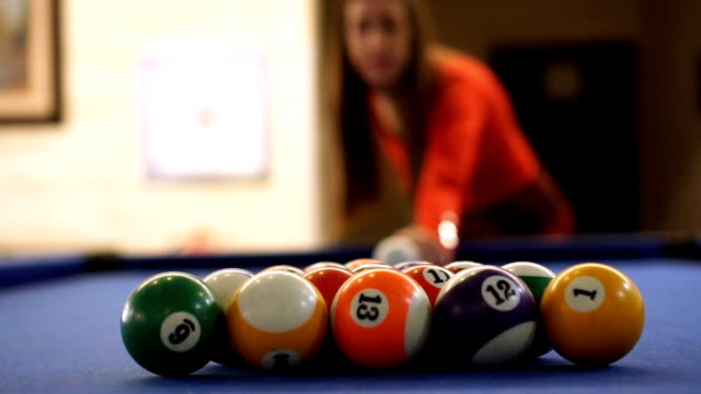 slow mo-her first shot - pool table stock videos & royalty-free footage