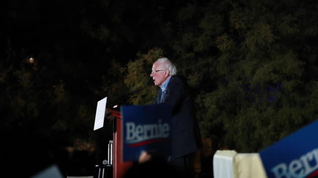 **slow motion 120 fps no sound** democratic presidential nomination hopeful bernie sanders speaks to supporters at springs preserve on the eve of the... - nevada stock videos & royalty-free footage