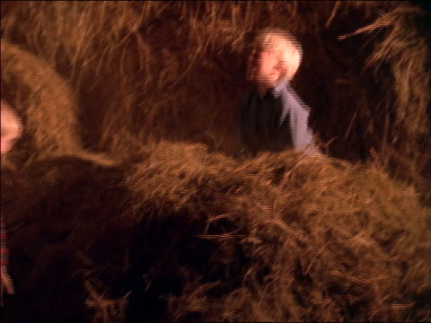 slow motion 2 boys playing in pile of hay indoors - fieno video stock e b–roll