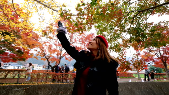 4k slow motion: a asian woman with smiling face at maple corridor in momiji fall festival. momiji kairo ,kawaguchiko japan - maple tree stock videos and b-roll footage