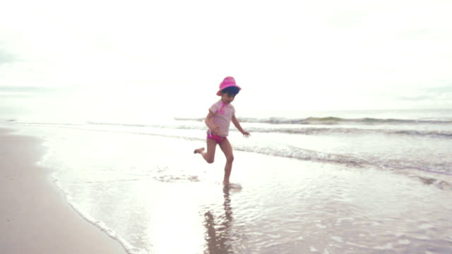 Slow motion: A girl having fun on Beach.