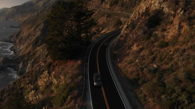 slow motion aerial video - big sur coastline california - monterey county stock videos and b-roll footage