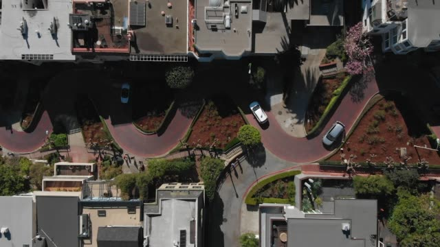 slow motion aerial video - cars driving down lombard street - california street san francisco stock videos & royalty-free footage