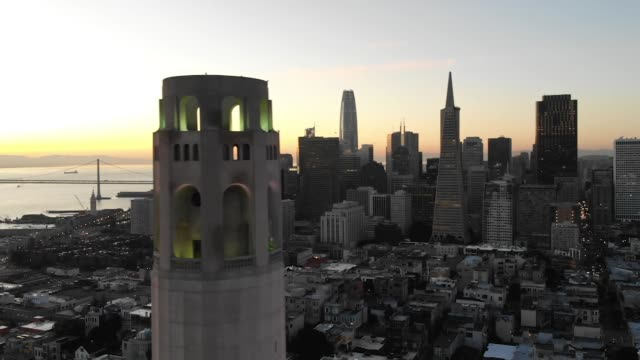 slow motion aerial video - coit tower in san francisco - north beach san francisco stock videos and b-roll footage