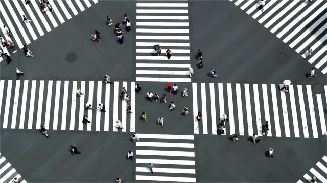 slow motion - aerial view of a crossing in ginza - cultures stock videos & royalty-free footage