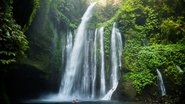 slow motion animation of a traveler couple swimming in the beautiful wild waterfall in the deep rain forest of the national park of the lombok island taken during travel vacations in indonesia. - indonesia landscape stock videos & royalty-free footage