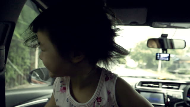 Slow Motion : Asian Baby Girl Tossing Hair