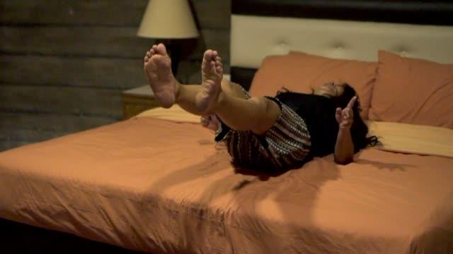 slow motion asian women bedroom