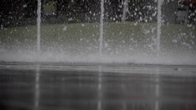 slow motion at 240fps of high pressure water jet from the ground - rx stock videos & royalty-free footage