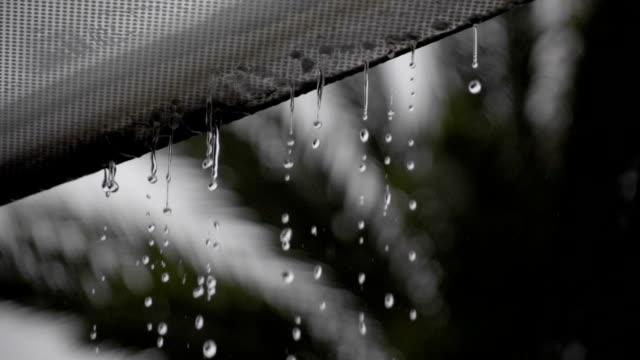 vídeos y material grabado en eventos de stock de cámara lenta a 240fps de agua de lluvia sobre el vidrio en el último piso - material
