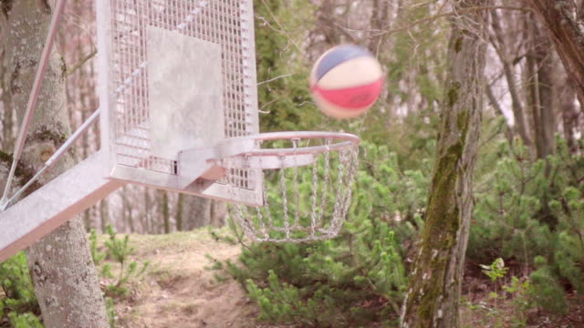 slow motion: basketball, ball, and hoop - shooting baskets stock videos and b-roll footage