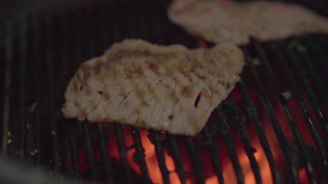vídeos de stock, filmes e b-roll de câmera lenta de carne de porco em um prato com molho de churrasco grelhado. grill buffet restaurante yakiniku. - bbq sauce