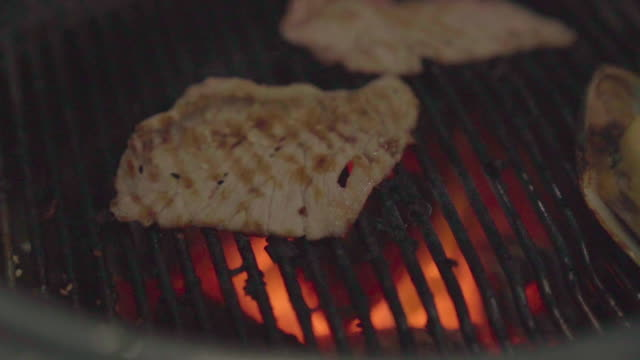 slow motion beef and pork on a plate with grilled bbq sauce. grill yakiniku buffet restaurant. - bbq sauce stock videos and b-roll footage