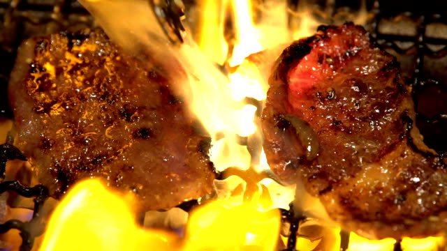 hd slow motion: beef bbq yakiniku - grilled stock videos and b-roll footage