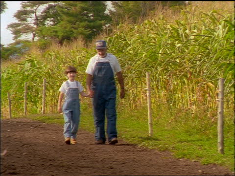 slow motion boy + grandfather in overalls holding hands + walking on dirt road by cornfield