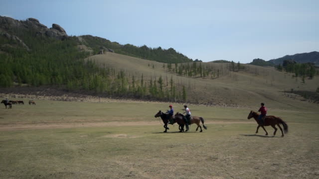 slow motion: boys horseback riding with tourists standing on field during sports event against sky - ulaanbaatar, mongolia - ulan bator stock videos & royalty-free footage