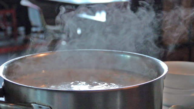 slow motion, breakfast type boiled rice and hot steam. - flame stock videos & royalty-free footage