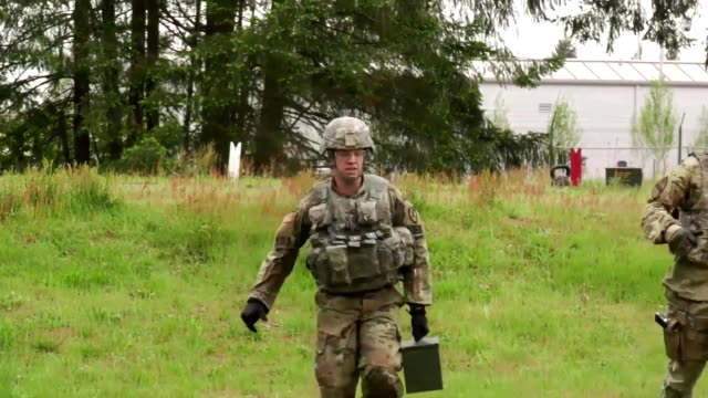 Slow motion broll and other broll of soldiers competing in the second day of events for the I Corps Best Warrior Competition 2018 including footage...