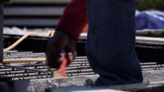 HD Slow motion: cage of reinforcement bar on the construction site
