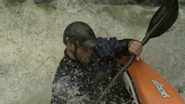 Slow motion canoeist freestyle, UK (Individual frames may also be used as a still image. Each frame in its raw state is about 6MB or about 12MB as a 16 bit TIFF)
