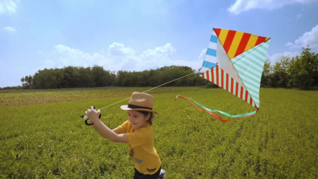 beautiful little girl flying a kite. happy memories of her young days - kid with kite stock videos & royalty-free footage