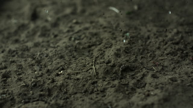 slow motion close shot of rain drops falling onto dry earth. - schlamm stock-videos und b-roll-filmmaterial