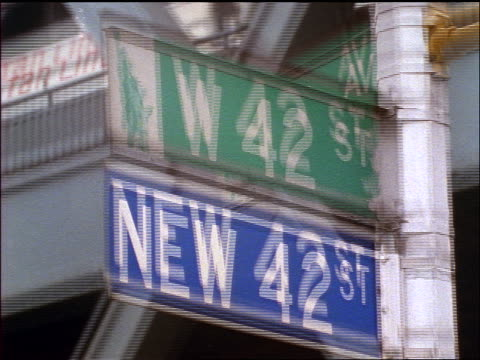 slow motion close up 42nd street sign / new york city - 42nd street stock videos & royalty-free footage