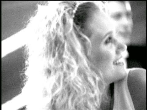 vídeos y material grabado en eventos de stock de b/w slow motion close up blonde bride with bowling ball / pan bridesmaids smiling + watching something offscreen - bola de bolos