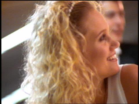 vídeos y material grabado en eventos de stock de slow motion close up blonde bride with bowling ball / pan bridesmaids smiling + watching something offscreen - bola de bolos