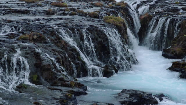 slow motion close up of bruarfoss waterfall in iceland - 40 seconds or greater stock videos & royalty-free footage